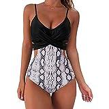 Briskorry Bikini para mujer push-up, ajustable, atado al cuello, parte superior de bikini de dos piezas, estampado triangular, cintura baja