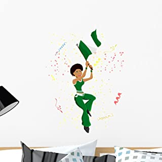 Wallmonkeys Black Girl Nigeria Soccer Wall Mural Peel and Stick Graphic (24 in H x 18 in W) WM66787