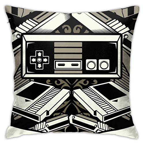 XCNGG Funda de cojin del coche de la funda de almohada del sofa de la sala de estar Old Video Games Square Pillowcase Case Throw Pillowcase Sofa Cushion Car Cushion Indoor Decorations Chair Pillowcase
