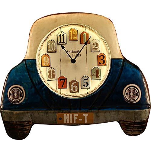 dkee Azul Con Luces Y América Retro Mute Reloj De Pared De Arte De La Barra Niños Decoración De La Pared Creativa De Los Adornos De Decoración Del Dormitorio Reloj Decorativo 485 * 410 (mm) Reloj de p