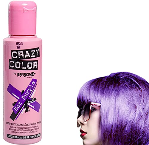 Crazy Colour Semi Permanent Haarfärbemittel Hot Purple No.62 (100ml) Box of 4