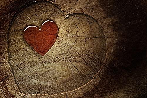 Zestawy do malowania według cyfr, DIY obraz olejny drewno serce dla dorosłych dzieci początkujących 40 x 50 cm (bez ramek)