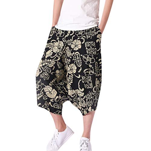 MNRIUOCII Harem Hosen Herren MäNner Haremshose Drop Crotch Aladinhose Yoga Baggy Sarouel Boho Hosen Yogahose Hippie 3/4 Bermuda Shorts