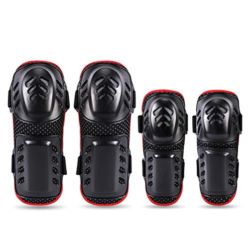 GuTe Knee Pads Elbow Pads, 4Pcs Knee Shin Guards Combo for Youth/Adult, 2 in 1 Protective Gear Set for Multi Sports Motorcycle Cycling Skating Skateboarding Bicycle Scooter