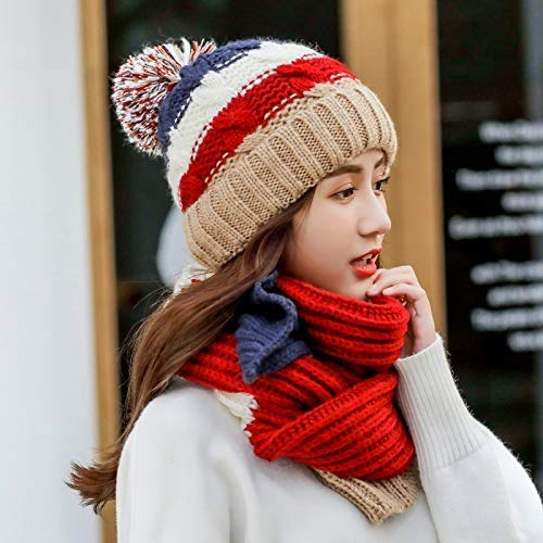 miwaimao Maocap HAT - Cappello invernale da donna, stile selvaggio, dolce e caldo, lavorato a maglia, con sciarpa e vestito, marrone castano