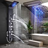 FUZ Shower wall Panel Tower System,7-Function Shower System Set Rainfall Waterfall LED Shower Head+Handheld Sprayer+Massage Body Jets+Tub Spout+Bidet Tap,Oil Rubbed Bronze