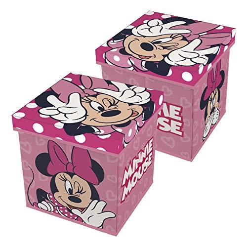 Minnie Maus 2in1 Spielzeugkiste + Hocker Aufbewahrungsbox mit Deckel Stuhl Kiste Minnie Mouse