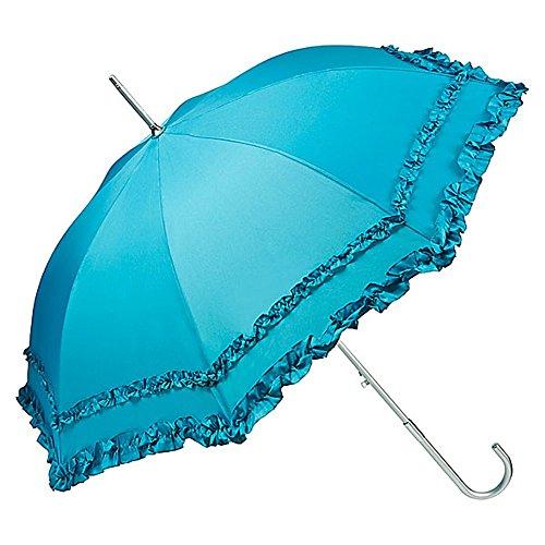 VON LILIENFELD Regenschirm Damen Sonnenschirm Brautschirm Hochzeitsschirm Automatik Mary Rüschen Petrol