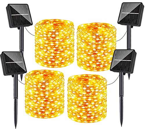 320FT Solar String Lights Outdoor Waterproof, 4-Pack Each 80FT 240 LED Twinkle Fairy Lights 8 Lighting Modes Copper Wire for Garden Patio Party Tree Fence Bistro Wedding Decorations