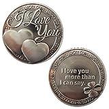 """Gedenk-Liebes-Münzen-Liebes-Wörter """"ich liebe dich mehr, als ich sagen kann"""" Romantik-Paar-Sammlung-Kunst-Geschenk-Andenken -"""