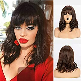 TopWigy Short Red Wig Burgundy Wig Short Wavy Bob Wig with Bangs Shoulder Length Maroon Wig Pastel Bob Wig 14 Inches…