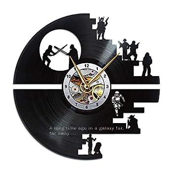 Death Star Clock Starwar Gift for Men Vinyl Record Wall Decor for Home Bedroom Bathroom Wars Memorabilia