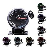 Indicatore,Misuratore di rapporto aria-carburante modificato per auto 2,5 pollici / 7 colori di sfondo Misuratore di rapporto aria-carburante da 60 mm