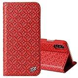 BEIJING ♋ PROTECTIVECOVER + Fierre Shann for iPhone X Copper Texture magnético Horizontal Flip Funda de Cuero Genuino con Soporte y Ranura Tarjeta De Caja de protección de la Moda (Color : Rojo)