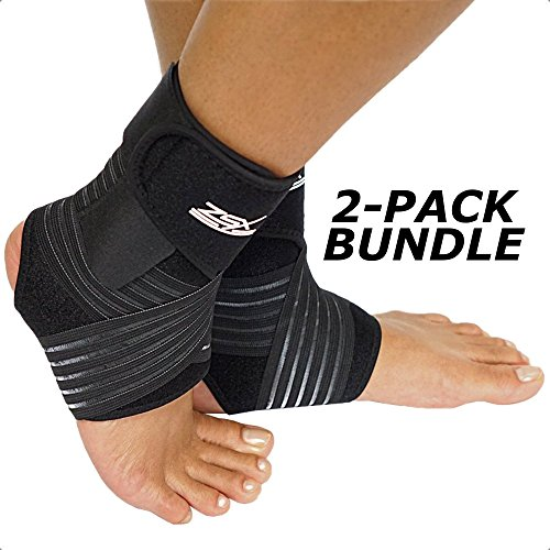ZSX Ankle Brace (Pair) with Bonus Straps, for Ankle Support, Plantar Fasciitis, or Swollen Ankles, One Size Fits Most Sport (Foot Size - Reg)