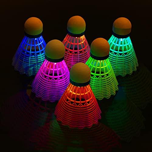 FORMIZON Bádminton LED, 6 Piezas Volantes de Badminton LED, Iluminación Pelotas Bádminton, Volante Pluma Badminton, Bádminton Nylon LED para Actividades Deportivas al Aire Libre e Interiores