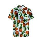 Fansu 3D Camisa Hawaiana para Hombre, Fiesta Tropical de Manga Corta Impreso Camisas de Trabajo Surf Funky Camisa Señores Playa (L,Piña)