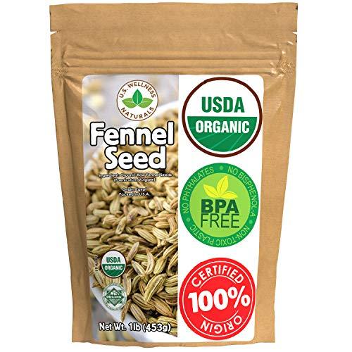 Fennel Seed 1LB (16Oz) 100% CERTIFIED Organic Egyptian Fennel Seed (Foeniculum vulgare), in 1 lbs. Bulk Resealable Kraft BPA free Bag by U.S. Wellness Naturals
