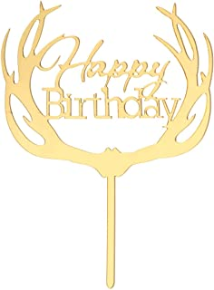 Birthday Cake Topper Creative Beautiful Acrylic Cake Insert Card for Birthday Party Festival (Antler Pattern)