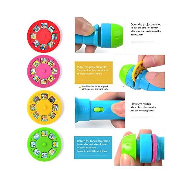 Projektionsfackel-Kids-Sotry-Taschenlampe-mit-Licht-4-Mrchenfilme-32-Dias-Projektor-fr-Kinder