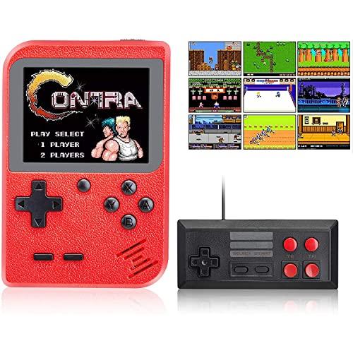 GEQWE Consola De Juegos Portátil, Consola De Videojuegos Retro FC, 400 Juegos Clásicos, Soporte De Pantalla LCD Portátil para TV Y 2 Jugadores, Niños