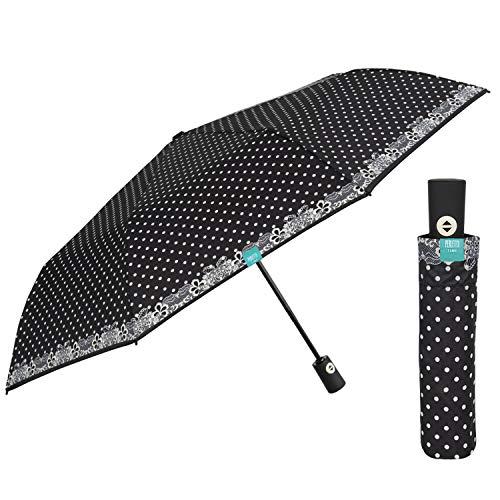 Paraguas Mujer Plegable con Apertura y Cierre Automático - Mini Paraguas de Lunares Blancos Antiviento - Paraguas...