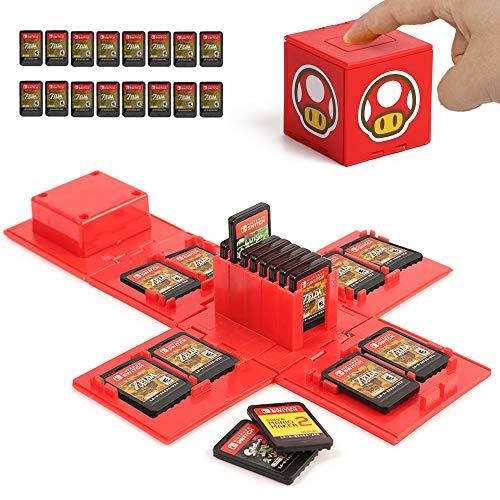 iQiin Funda de Juego, Compatible para Nintendo Switch Compatible con hasta 16 Juegos de Nintendo Switch Organizador de Tarjeta de Juego Contenedor de Viaje (Hongo Rojo)