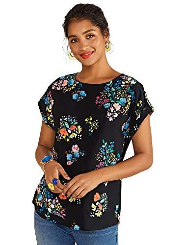 YUMI Damen Spring Time Floral Print Top Bluse, Schwarz, 34