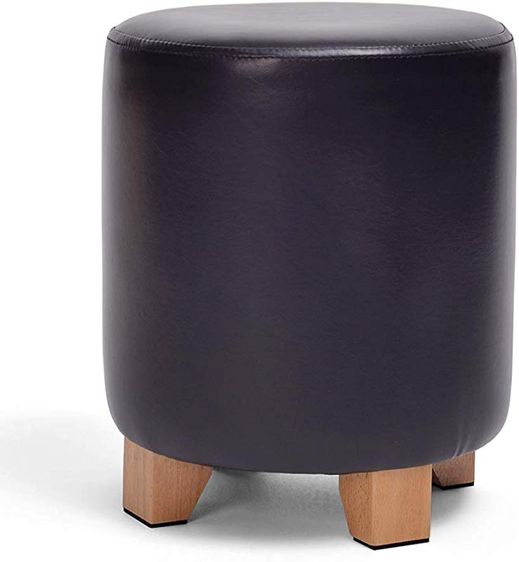LFF Leather Foot Stool Wood Creative Household Multi Purpose Small Foot Rest Seat 29X29X35cm Color Black
