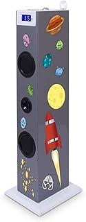 BigBen Sound Tower TW5 - Altavoz de tipo barra (Bluetooth, 3.5 mm, USB, 2 x 10 W RMS, pantalla LED, UKW, SD), diseño Karaoke, multicolor