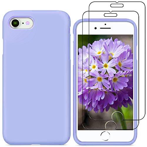 YiKaDa - Funda para iPhone SE 2020 / iPhone 8 / 7 + [2 Unidades] Cristal Templado Protector de Pantalla, Cáscara Suave de Silicona TPU Líquida Funda Forro de Microfibra Suave Cojín - Púrpura