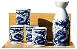 Dragon Service à saké 4tasses sur blanc–Japonais