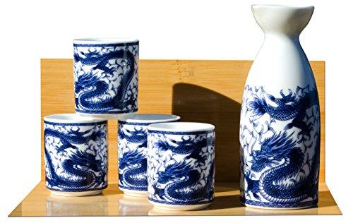 Dragón Sake Set en blanco–japonés 4tazas