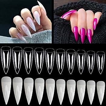 Noverlife 1200PCS Full Cover Flat Stiletto Shape French False Nail Tips 10 Sizes Acrylic Fake Long Claw Nails Artificial Nail art Finger Tips for Salon DIY Mani-pedi Nail Design - Clear Natural