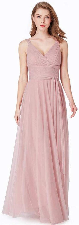 Evening Dress, Temperament Elegant Pink Sexy Deep VNeck Sling Sleeveless Mesh Dinner Princess Birthday Party Dress
