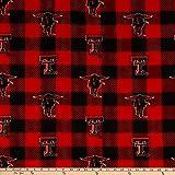 NCAA Texas Tech Red Raiders Buffalo Plaid Fleece, Fabric by the Yard