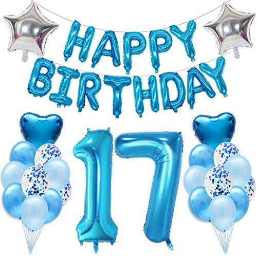 Ouceanwin 17 Geburtstag Dekoration Blau 17. Geburtstagsdeko Jungen Set, Riesen Luftballons Zahl 17, Folienballon Happy Birthday Girlande, Konfetti Luftballons Helium Ballons Geburtstag Deko Set