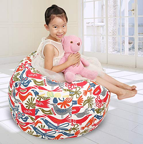 Great Eagle Stuffed Animal Storage Bean Bag Chair Cover|38X38 Inches Extra Large|100% Cotton Canvas...