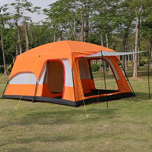 TAHMM L320 * W220 * H190CM Extra Grande 4-8 Nivel al Aire Libre de 2 dormitorios y 1 castaña campaña para Camping Familiar en una Tienda Espacial Premium Grande (Color : Orange)