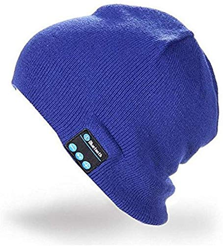 YZHM Música Bluetooth inalámbrica Bluetooth Bluetooth Diadema Tejer Sombrero, Gorra inalámbrico Inteligente, Sombrero inalámbrica Bluetooth, la música Bluetooth Beanie Cap,Zafiro
