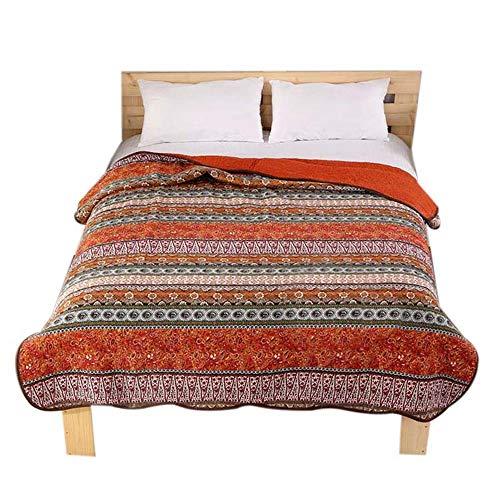 8月13日までの割引 gardenlightess ベッドカバー ベッドスプレッド マルチ カバー キルト シングル 綿100% 150×200cm ストライブ レッド