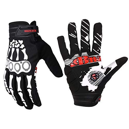 BRZSACR Guanti da Ciclismo MTB Full Finger Guanti da Mountain Bike in Gel Imbottiti per Mountain Bike Guanti da Guida su Strada Touch Screen, per Uomo e Donna (Nero, L)