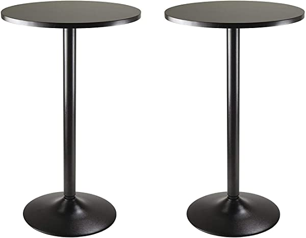 Winsome Obsidian Pub Table Round Black MDF Top With Black Leg And Base 23 7 Inch Top 39 76 Inch Height Pack Of 2