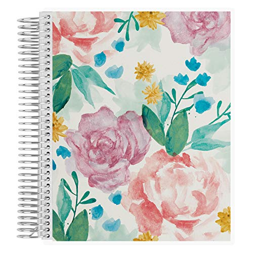 Erin Condren Coiled Notebook (College Ruled Layout) - Watercolor Blooms Designer Interchangeable Cover, College Ruled Lined Paper, Measures 8.5' x 11', Boost Productivity, Durable, Pretty, Cute