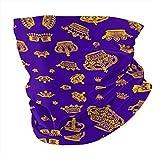 Wangqiuying19 12 en 1 Multifuncional Headwear,Strategic Air Command Bandanas Cuello Polainas con 6 Filtro de Carbono para Hombres Mujeres, color Royal Crowns - Oro Sobre Púrpura, tamaño talla única