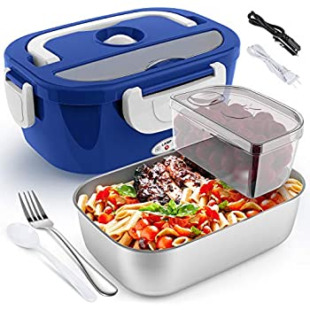 Electric Lunch Box for Car and Home COCOBELA Portable Food Warmer 55W Faster Food Heater for Adults 2 Compartments Removable Stainless Steel Container Fork & Spoon