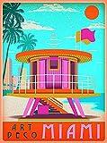 ABLERTRADE Metallschild, Art Deco Miami Beach Florida Sunny