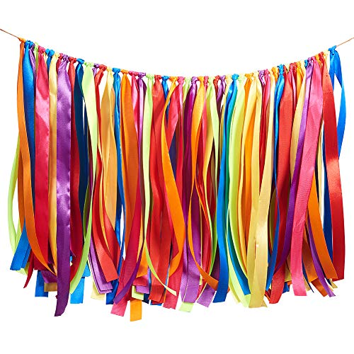 WANDIC Ribbon Tassel Garland, Fabric Banner Backdrop Bunting Hanging Decoration for Baby shower, Weddings, Birthday, Anniversary, Graduation Party Decor (Colorful)
