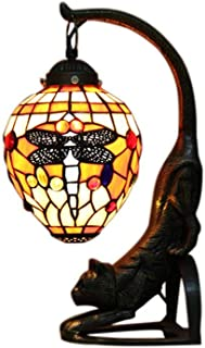 li@ Vintage Tiffany-Style Stained Glass Dragonfly Table Lamp with Cat Base,23×37cm,European Retro Art Bedside Lamp Desk Lamp
