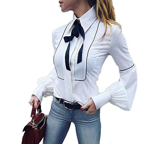 SUCES Damen Langarm Hemd Freizeit V-Ausschnitt Bluse Frauen Frühling Oberteile Elegant Business Oberteile Slim Fit Tops Bowknot Einfarbig Sweatshirt Niedlich Chiffonbluse (XL, White)